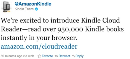 Amazon Kindle Clouds Tweet