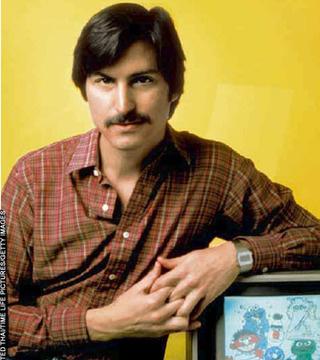 Steve Jobs w. moustache